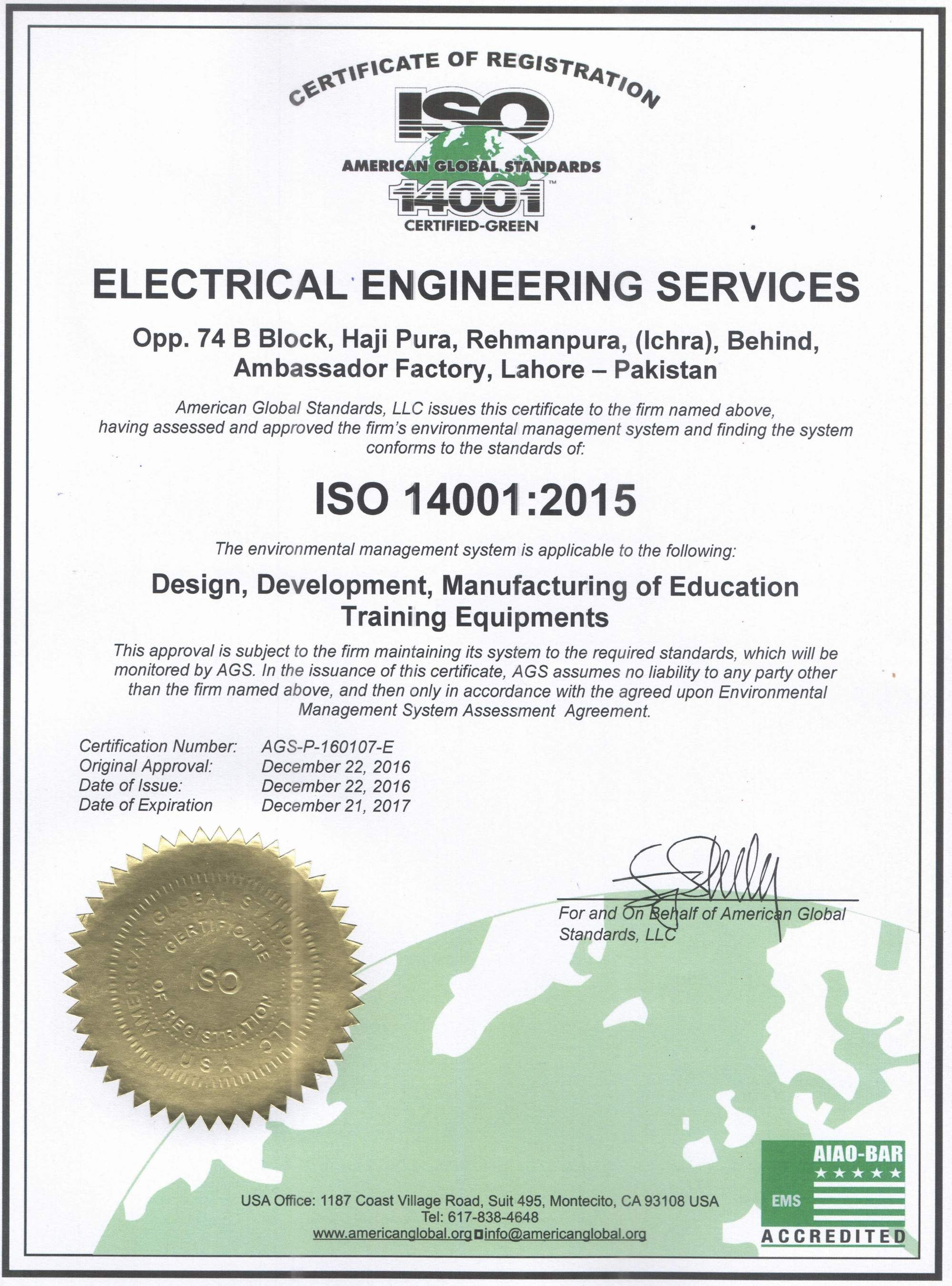 Certifications - Electrical Engineering Services (EES)