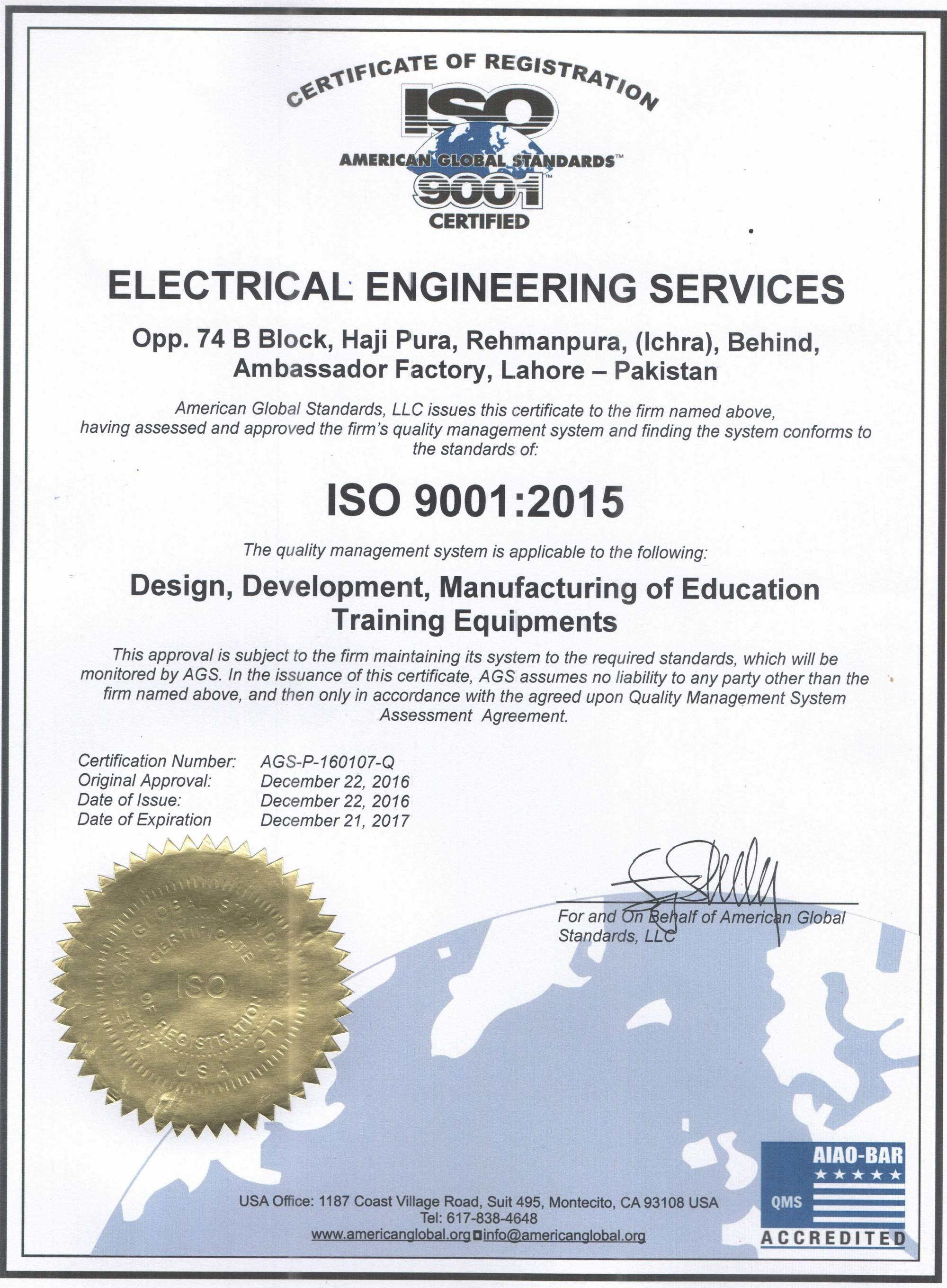 Certifications electrical engineering services ees certifications iso certificates electrical engineering services xflitez Image collections